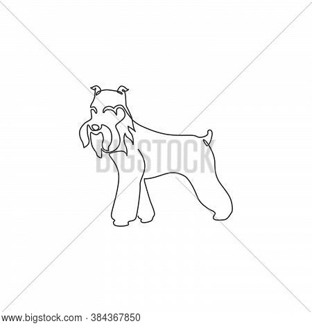 One Continuous Line Drawing Of Miniature Schnauzer Dog For Company Logo Identity. Purebred Dog Masco