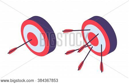 Isometric Targets. Archery, Arrow In Goal And Failure. Business Ambitions Metaphor, Success And Fail