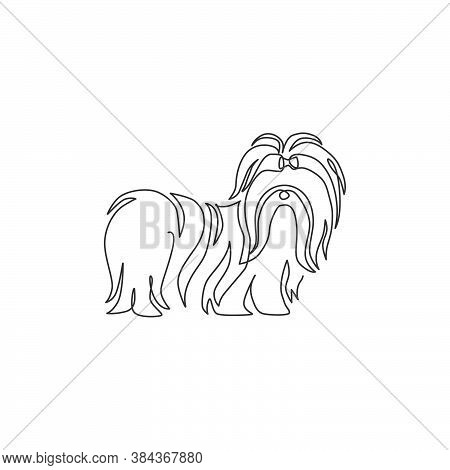 One Continuous Line Drawing Of Cute Shih Tzu Dog For Pet Salon Logo Identity. Purebred Dog Mascot Co