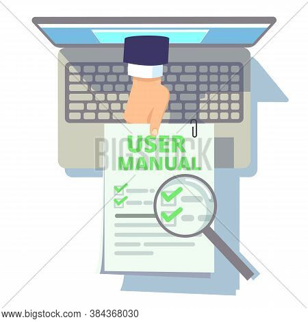 Online User Guide. Web Manual, Hand From Laptop Screen Holding Instruction Or Info. Flat Computer Wi