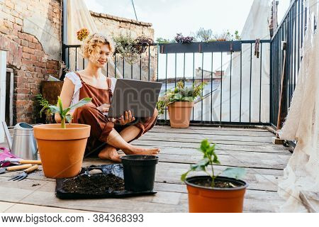 Work From Home Or Study Online, Concept With A Woman Gardener Working At Laptop Outdoor On Terrace,