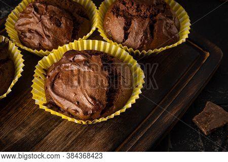Homemade Chocolate Muffins Close Up. Homemade Brownie
