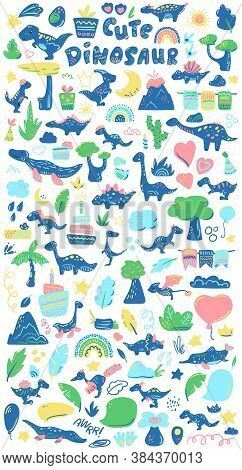 Cute Dinosaurs And Natural Elements Clipart. Dinosaur Party Decor Set. Kids Birthday Or Baby Shower