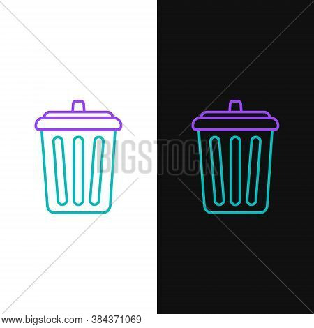 Line Trash Can Icon Isolated On White And Black Background. Garbage Bin Sign. Recycle Basket Icon. O