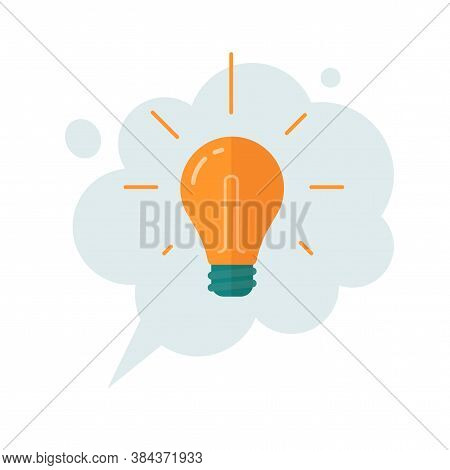 Idea Thinking Cloud Bubble With Lightbulb Icon Vector Cartoon Flat Illustration, Concept Of Finding