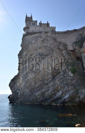 The Famous Castle Swallow's Nest On The Rock In The Black Sea In Crimea