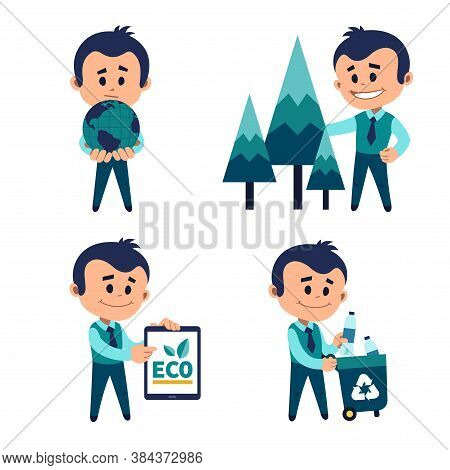 Environmental Protection Concept. Man Holding Earth In His Palms. Planting And Preserving Forests. M