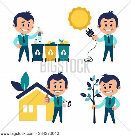 Environmental Protection Concept. Man Sorting Garbage. Man Planting Tree. Solar Energy Concept. Man