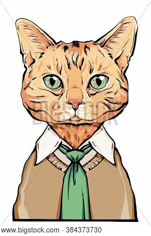 Hand-drawn Vector Portrait Of A Scottish Cat. Portrait Of Pet In A Shirt And Vest. Office Animal Por