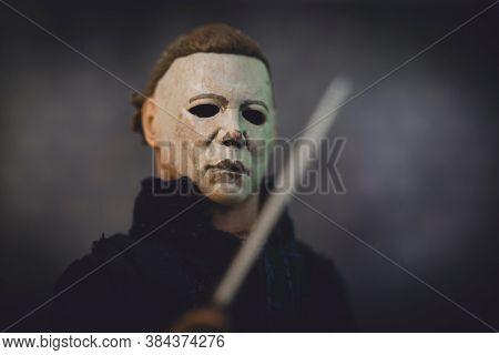 SEPTEMBER 6 2020: Portrait of Halloween slasher Michael Myers - the Boogieman - Neca Halloween II action figure