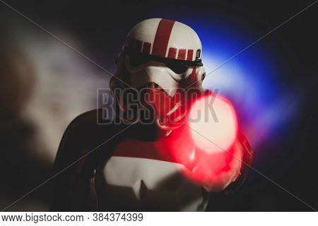 SEPTEMBER 7 2020: Battlefront 2 Galactic Imperial Shock Trooper Stormtrooper firing a blaster with light effect - Hasbro action figure