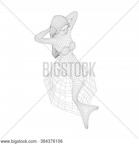 Wireframe Of A Mermaid Sitting On A Stone. Mermaid From Black Lines Isolated On White Background. 3d