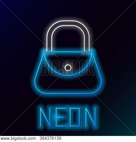 Glowing Neon Line Handbag Icon Isolated On Black Background. Female Handbag Sign. Glamour Casual Bag
