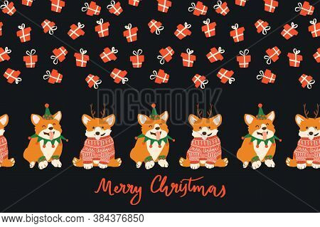 Vector Adorable Smiling Corgi In Christmas Ugly Sweater And Deer Antlers. Seamless Border On Black B
