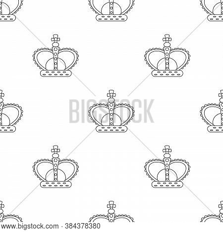 A Seamless Pattern With Crown Outline. Regal Wallpaper. Line Art.