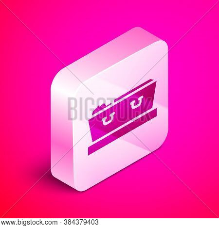 Isometric Open Coffin With Dead Deceased Body Icon Isolated On Pink Background. Funeral After Death.