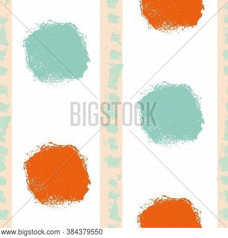 Mono Print Style Circles Seamless Vector Pattern Background. Textured Stamp Effect Orange, Mint Gree