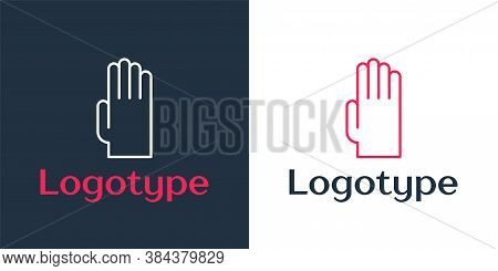 Logotype Line Rubber Gloves Icon Isolated On White Background. Latex Hand Protection Sign. Housework