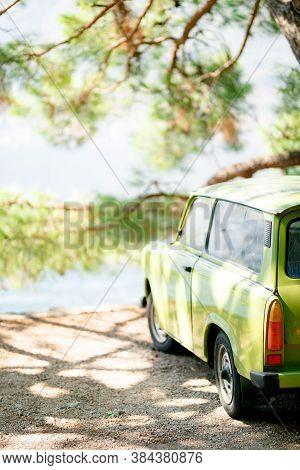 Perast, Montenegro - 07 August 2020: Old Car Zastava, Light Green, Produced In Yugoslavia, A Non-exi
