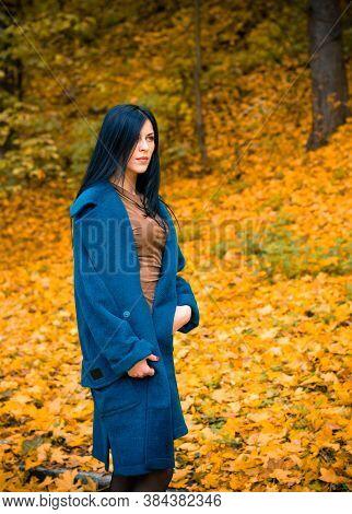 Portrait Of Young Beautiful Woman In Autumn Blue Oversize Coat. Brunette Fashion Woman Walking Outdo