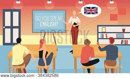 Teaching, Learning American English Concept. Female Coach Teaches English With Students At Classroom