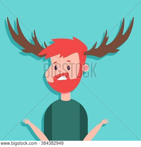 Surprised Man With Antlers Vector Cartoon Character Isolated On Background.