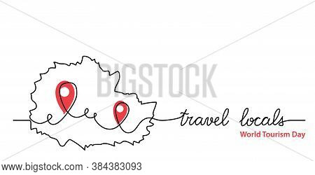 Travel Locals Simple Web Banner With Pinpoint Icon. Vector Minimalist Background. One Continuous Lin