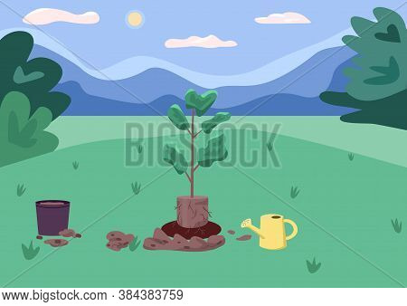 Park And Recreation Area Flat Color Vector Illustration. Planting Process. Planting Stock. Rural Bea