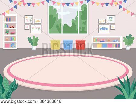 Children Room Flat Color Vector Illustration. Playroom. Nursery-school. Kindergarten. Recreation, Ru