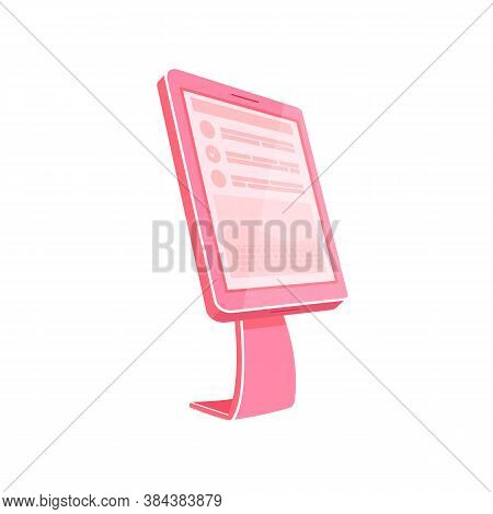 Pink Self Service Kiosk Flat Color Vector Object. Touch Screen Panel. Invoice Checkout From Bank Sta