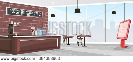Inside Cafeteria Flat Color Vector Illustration. Industrial Coffee Shop Indoors. Restaurant With Fur