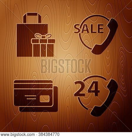 Set Telephone 24 Hours Support, Gift Box, Credit Card And Telephone 24 Hours Support On Wooden Backg
