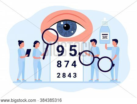 Doctor Is Checkup Eye Vision. Examination Eyes People, Focus Correction Treatment. Ophthalmology. Op