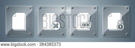 Set Document And Lock, Doc File Document, Delete File Document And Document. Square Glass Panels. Ve