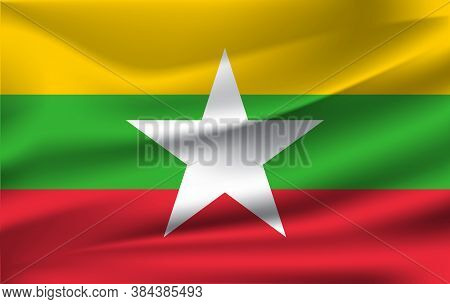 Flag Of Myanmar. Realistic Waving Flag Of Republic Of The Union Of Myanmar. Fabric Textured Flowing