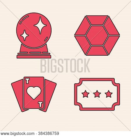 Set Ticket, Magic Ball, Magic Stone And Playing Cards Icon. Vector