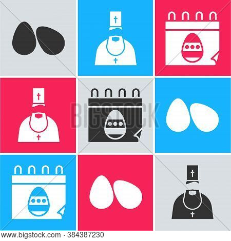 Set Easter Eggs, Priest And Calendar With Easter Egg Icon. Vector