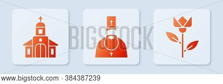 Set Priest, Church Building And Flower Tulip. White Square Button. Vector