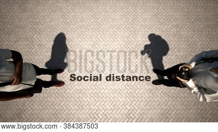 Concept or conceptual 3d illustration of two men meeting following social distance guidelines on a wooden floor background. A metaphor for the change in company relations during the lockdown