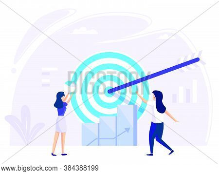 Target Selection Achieved. Concept Of Run Achievement Measurement And Grow Goals For Web Banner Info