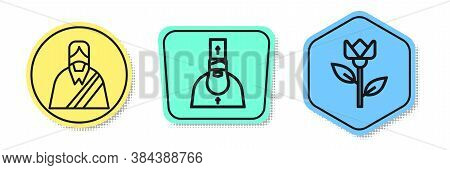 Set Line Jesus Christ, Priest And Flower Tulip. Colored Shapes. Vector