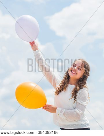 Higher And Higher Everyday. Cheerful Girl Have Fun. Freedom Concept. Childhood Happiness. Happiness