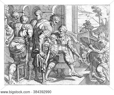 Laertes' house attacked, The relatives of the deceased suitors want revenge and storm the house of Laertes, vintage engraving.