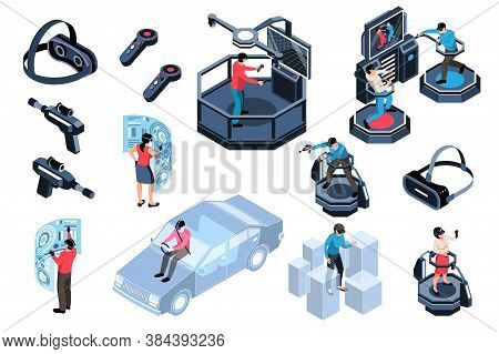 Virtual Augmented Reality Icons Set With People Portable Devices Simulators Isolated On White Backgr
