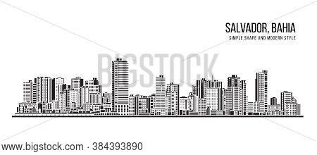 Cityscape Building Abstract Shape And Modern Style Art Vector Design -  Salvador City , Bahia (brazi