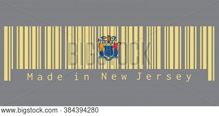 Barcode Set The Color Of New Jersey Flag, The States Of America. The State Coat Of Arms On Buff Colo