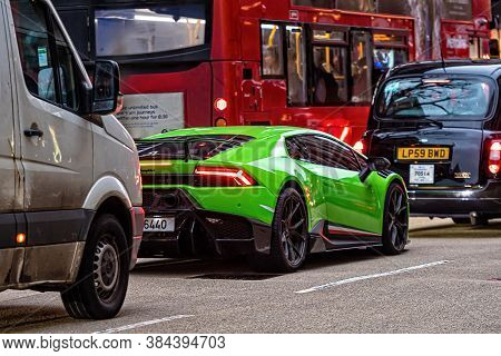 London, England, Uk - December 31, 2019: Traffic Jam In London Center With Expensive Green Supercar