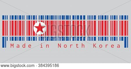 Barcode Set The Color Of North Korea Flag, Horizontal Red White And Blue, Red Star Within A White Ci