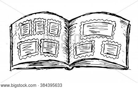 Black And White Rough Line Drawing Of Unfolded Photo-album Pages. Simple Illustration Of A Book With