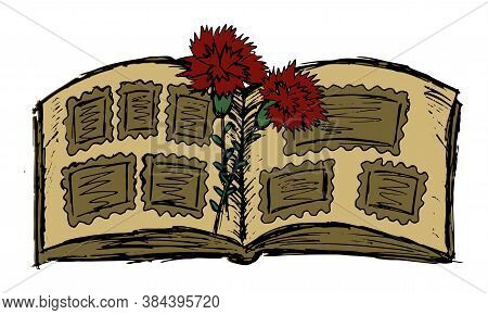 Hatching Grunge Vector Clipart Of Two Red Carnations Lying On The Open Pages Of A Photo Album. Color